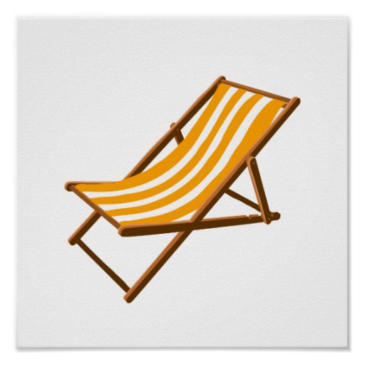 orange striped wooden beach chair.png poster