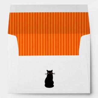 Orange Stripes and Black Cat Halloween Envelope