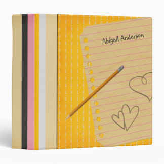 Orange Stripes and Doodles School Binder