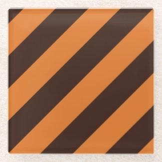 Orange Stripes Glass Coaster