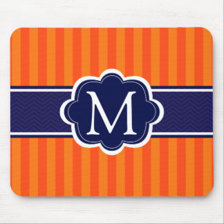 Orange Stripes Navy Blue Custom Monogram Initial Mouse Pad
