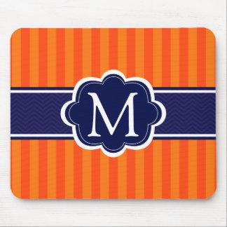 Orange Stripes Navy Blue Custom Monogram Initial Mouse Pad