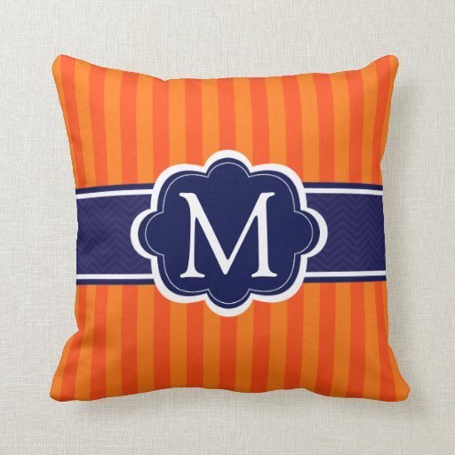 Navy Blue And Orange Throw Pillows : Orange Stripes Navy Blue Custom Monogram Initial Throw Pillow Zazzle
