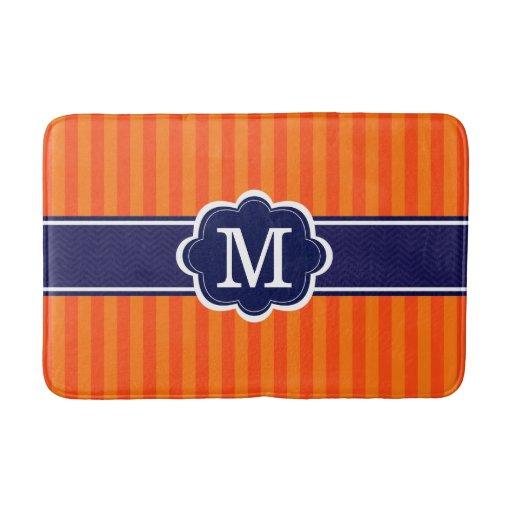 Orange Stripes Navy Blue Custom Monogram Initial Bath Mats