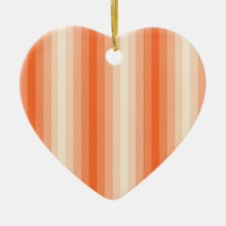 Orange Stripes Double-Sided Heart Ceramic Christmas Ornament
