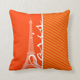 Orange Stripes; Paris Pillow