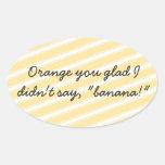 Orange Stripes Pattern Oval Stickers