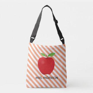 Orange Stripes, Red Apple Personalized Teacher Crossbody Bag