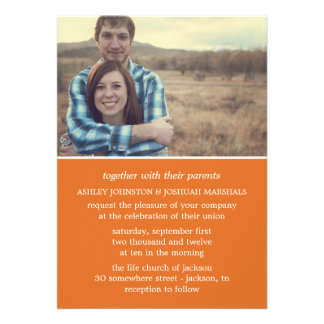 Orange Stylish Photo Wedding Invitations