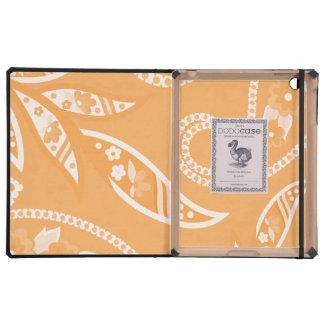 Orange Stylized Flowers Cases For iPad