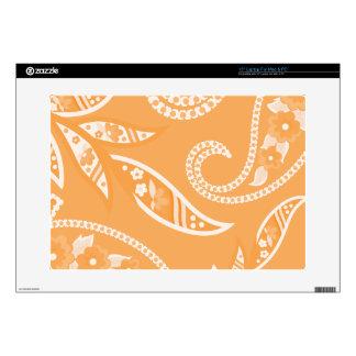 Orange Stylized Flowers Laptop Decal