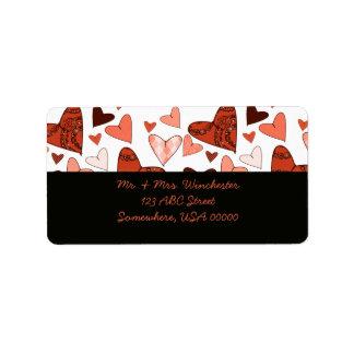 Orange Stylized Hearts Label