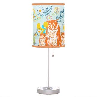 Orange Stylized Owl Family for Your Baby Room Desk Lamp
