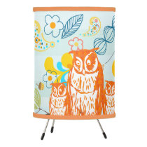 Orange Stylized Owl Family for Your Baby Room Tripod Lamp