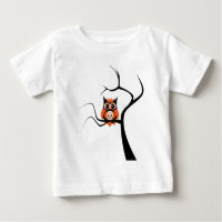 Orange Sugar Skull Owl in Tree Baby T-Shirt