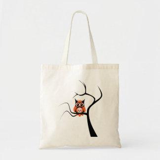 Orange Sugar Skull Owl in Tree Bag