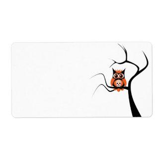Orange Sugar Skull Owl in Tree Label Shipping Label