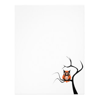 Orange Sugar Skull Owl in Tree Letterhead