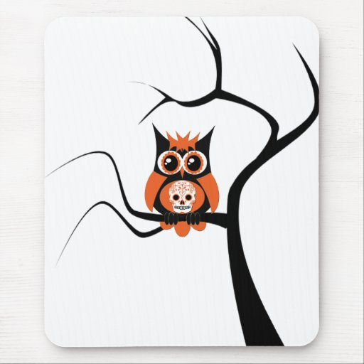 Orange Sugar Skull Owl in Tree Mousepad