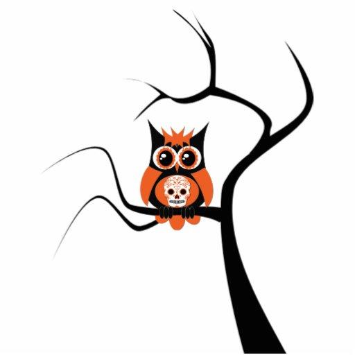 Orange Sugar Skull Owl in Tree Photo Sculpture