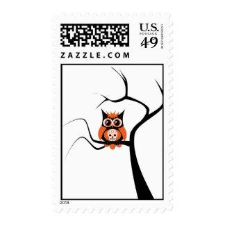 Orange Sugar Skull Owl in Tree Postage