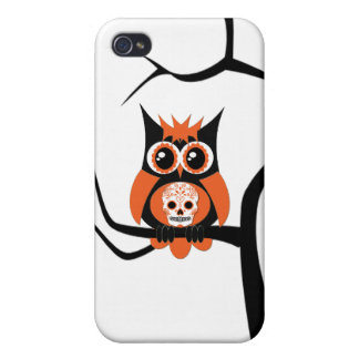 Orange Sugar Skull Owl in Tree Speck Case Covers For iPhone 4