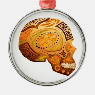 Orange Sugar Skull Skeleton - Desert Colors Metal Ornament