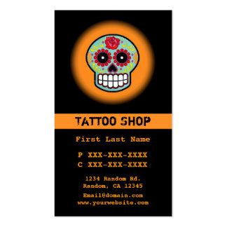 Orange sugar skull tattoo custom business cards