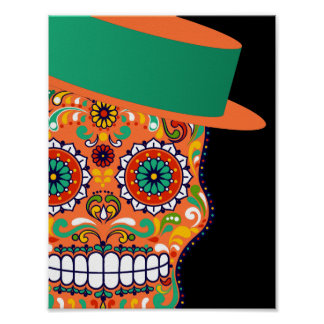 Orange Sugar Skull With Hat and Bow Tie Poster