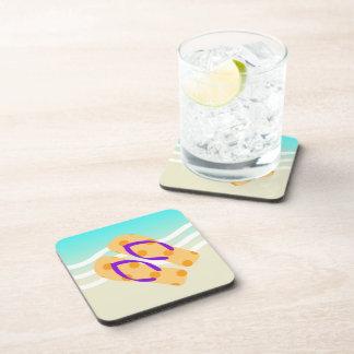 Orange Summer Beach Waves Flip Flops Beverage Coaster