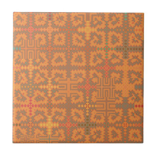 "Orange Summer Heat Tapestry Ceramic Tile 4.25"""