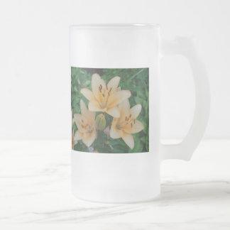 Orange Summer Lilies Frosted Glass Beer Mug
