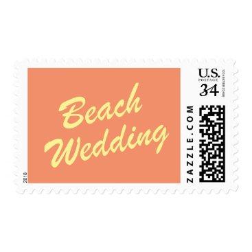 Beach Themed Orange Summer Wedding Stamp