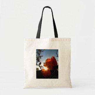 Orange Sun and Petals Tote Bag