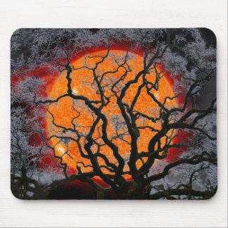 Orange Sun and Tree Silhouette Mouse Pad