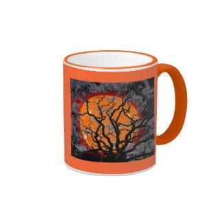 Orange Sun Black Tree Ringer Mug