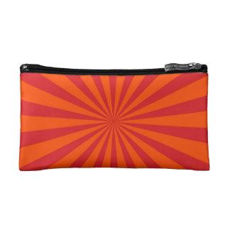 Orange Sun Burst Sun Rays Pattern Cosmetic Bag