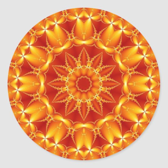 Orange Sun Classic Round Sticker