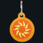 """Orange Sun Pet ID Tag<br><div class=""""desc"""">Always basking in the rays of that warm sliver of sun, your little ball of sunshine knows how to really kick back and take a few ZZZs. And when he&#39;s done soaking it all in, he&#39;s rared up and ready to go for a romp with mom or dad. Let your...</div>"""