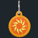 "Orange Sun Pet ID Tag<br><div class=""desc"">Always basking in the rays of that warm sliver of sun, your little ball of sunshine knows how to really kick back and take a few ZZZs. And when he&#39;s done soaking it all in, he&#39;s rared up and ready to go for a romp with mom or dad. Let your...</div>"