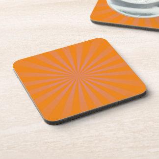 Orange Sun Rays Pattern Beverage Coaster