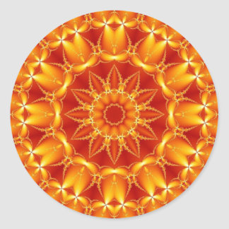 Orange Sun Round Sticker