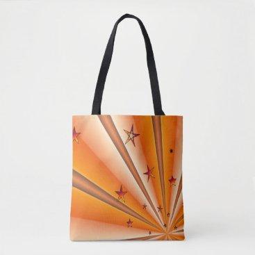 Beach Themed Orange Sunburst and Stars Tote Bag