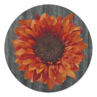 Orange Sunflower & Barnwood Sticker sticker
