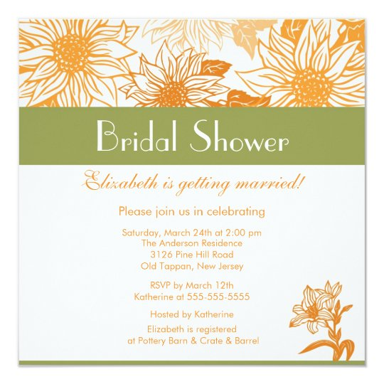 Orange Sunflower Bridal Shower Invitation