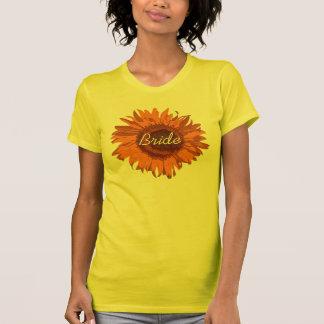 Orange Sunflower Bride Wedding T-Shirt
