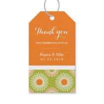 Orange Sunflower Floral Pattern Gift Tag Wedding