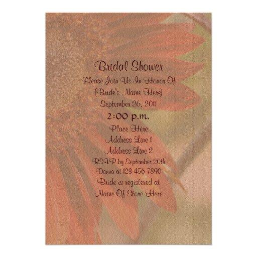 Orange Sunflower Flower Bridal Shower Invite