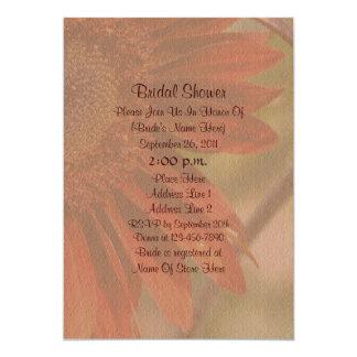 "Orange Sunflower Flower Bridal Shower Invite 5"" X 7"" Invitation Card"