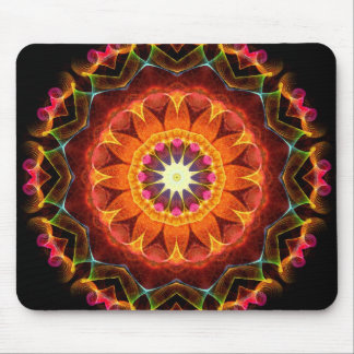 Orange Sunflower kaleidoscope Mouse Pad
